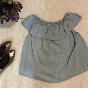 ON chambray Ruffle Top